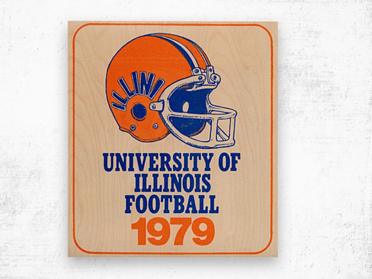 1979 illinois football helmet art Wood print
