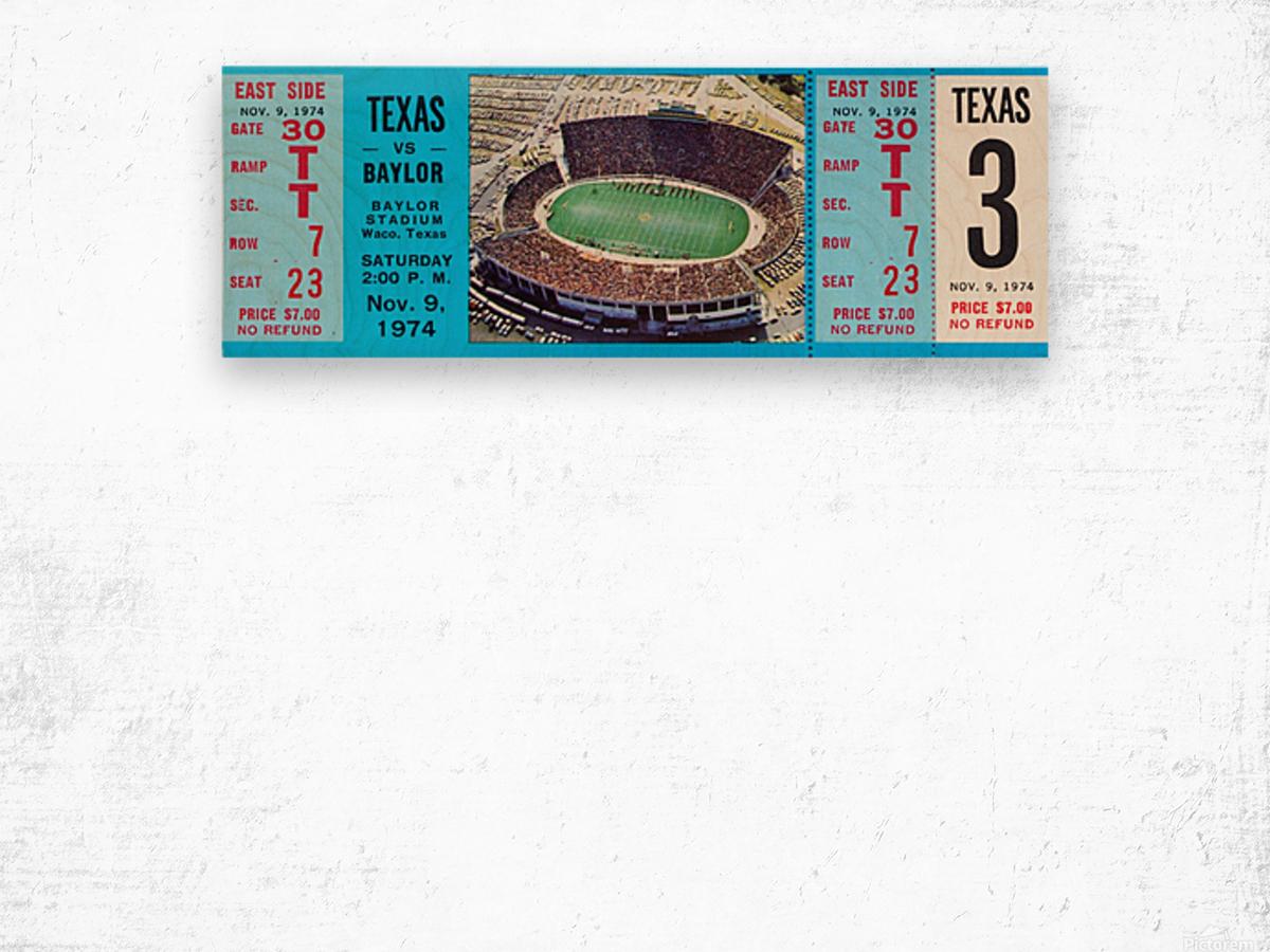 1974 baylor bears texas college football ticket art Wood print