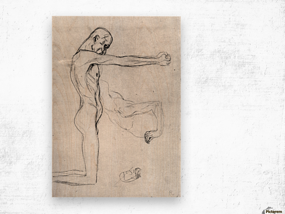 Man with with outstretched arms by Klimt Wood print