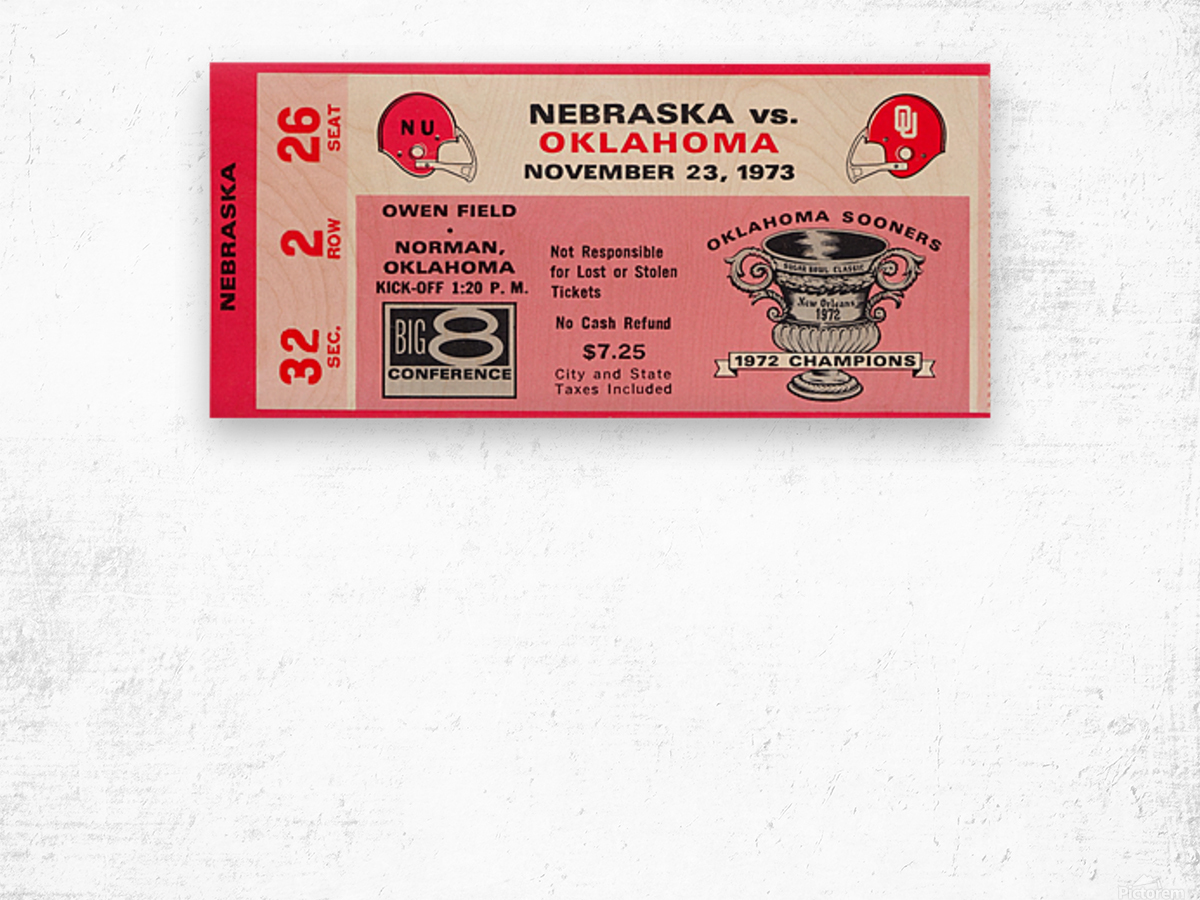 1973 oklahoma sooners nebraska cornhuskers owen field norman college football ticket art Wood print