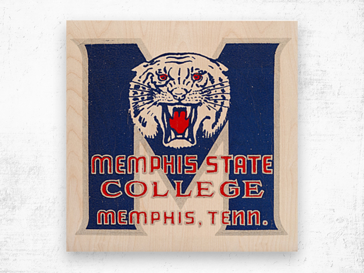 1950s Memphis State College Tigers Wood print