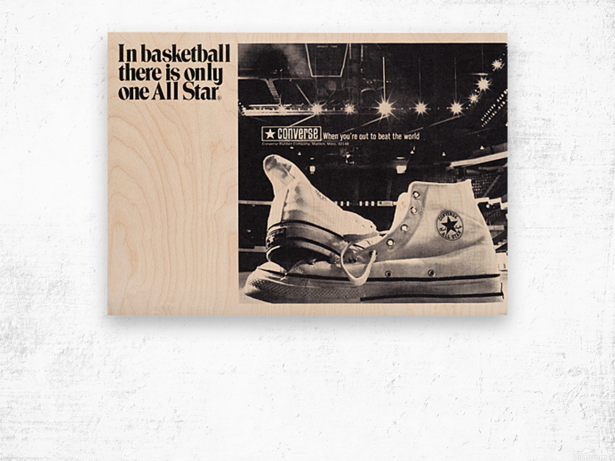 1968 converse all star shoe ad reproduction wall art Wood print