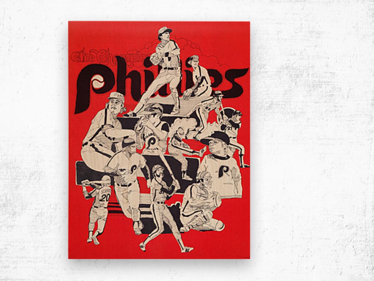 1977 philadelphia phillies champions retro baseball poster Wood print