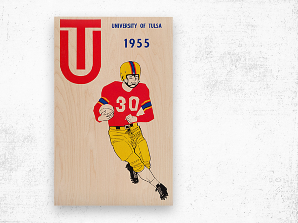 1955 university of tulsa football poster Wood print