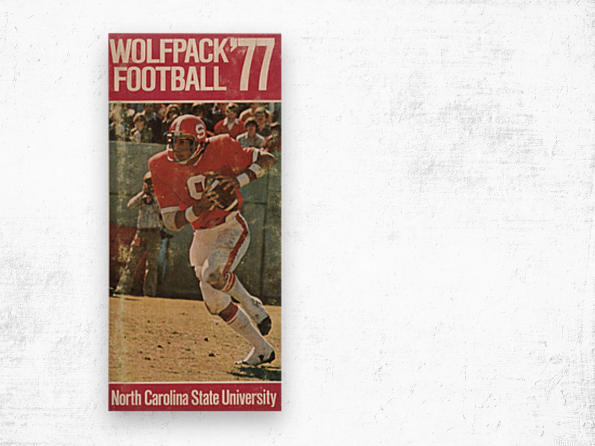 1977 nc state wolfpack retro college football poster johnny evans qb Wood print