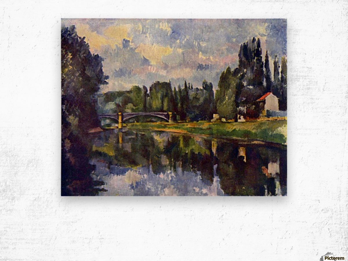 Marne Shore by Cezanne Wood print