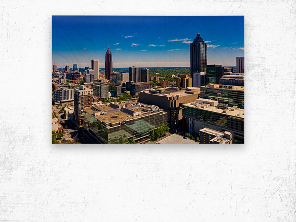 Downtown Atlanta Aerial View   Atlanta GA 0584 Wood print