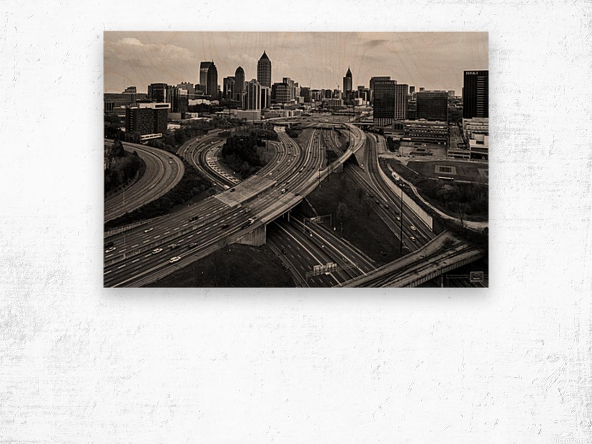 Interstate 75 85 Aerial View   Atlanta GA 0225 Wood print