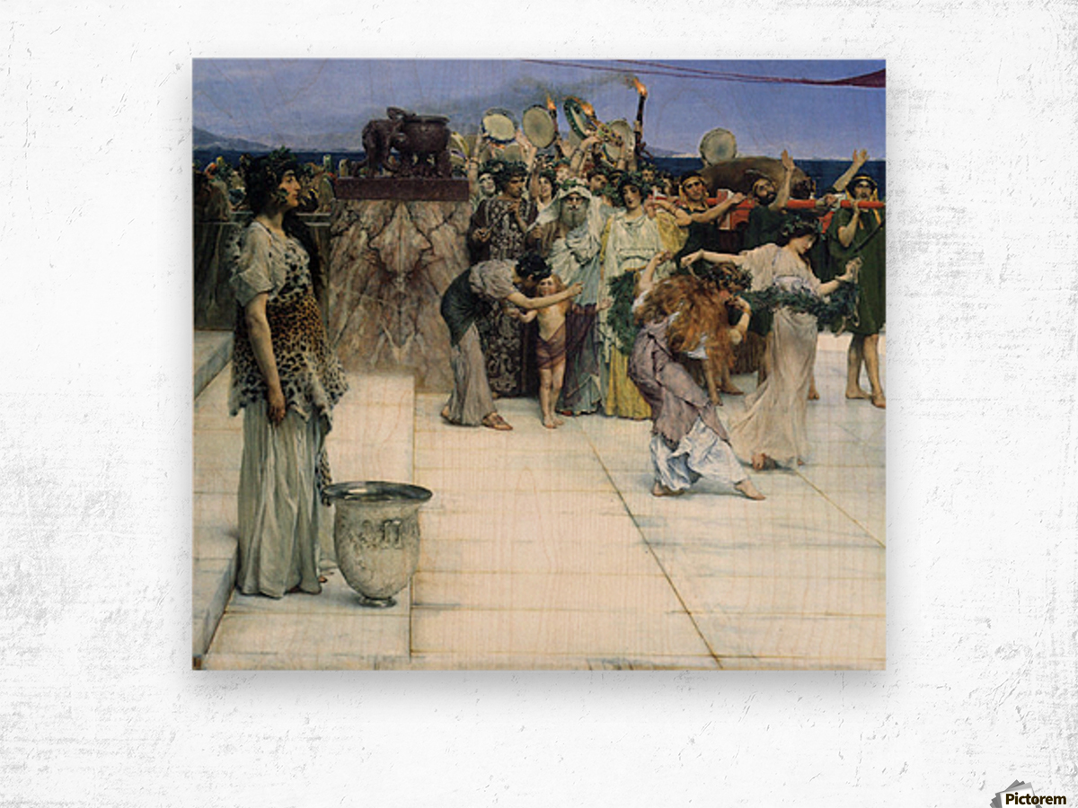 A consecration of Bacchus, detail -1- by Alma-Tadema Wood print
