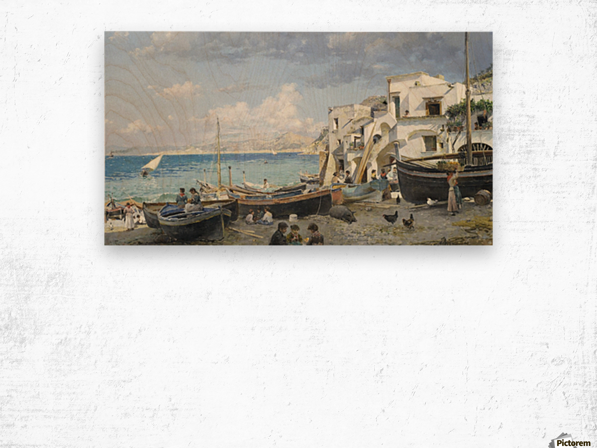 Italian coast with mountains seen in the background Wood print