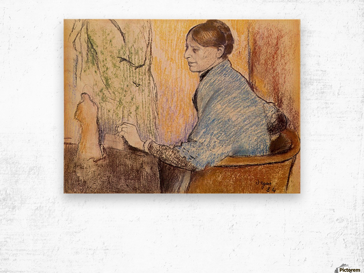 Mme Henri Rouart before a  statue by Degas Wood print