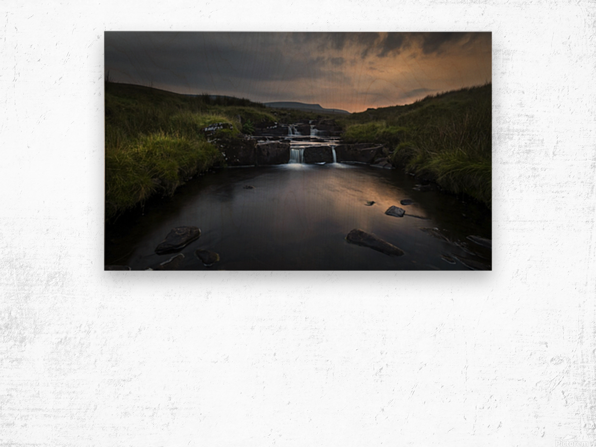 Dusk over the Brecon Beacons Wood print