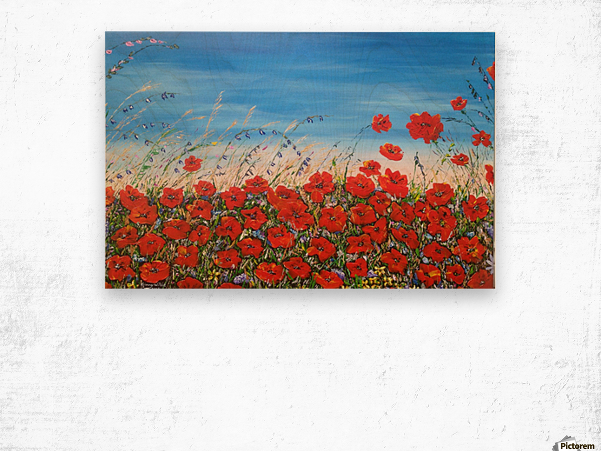Poppies in the Wind Wood print