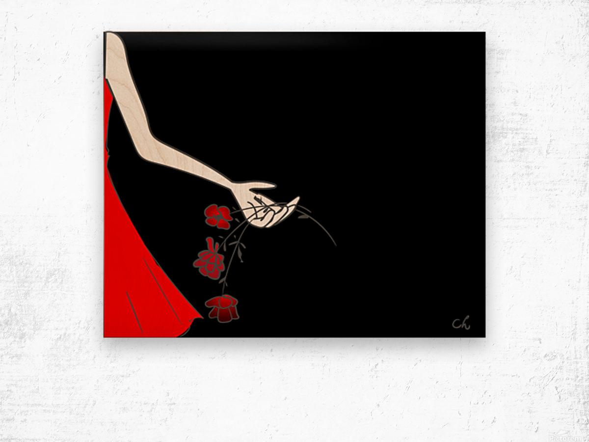Dropping roses Wood print