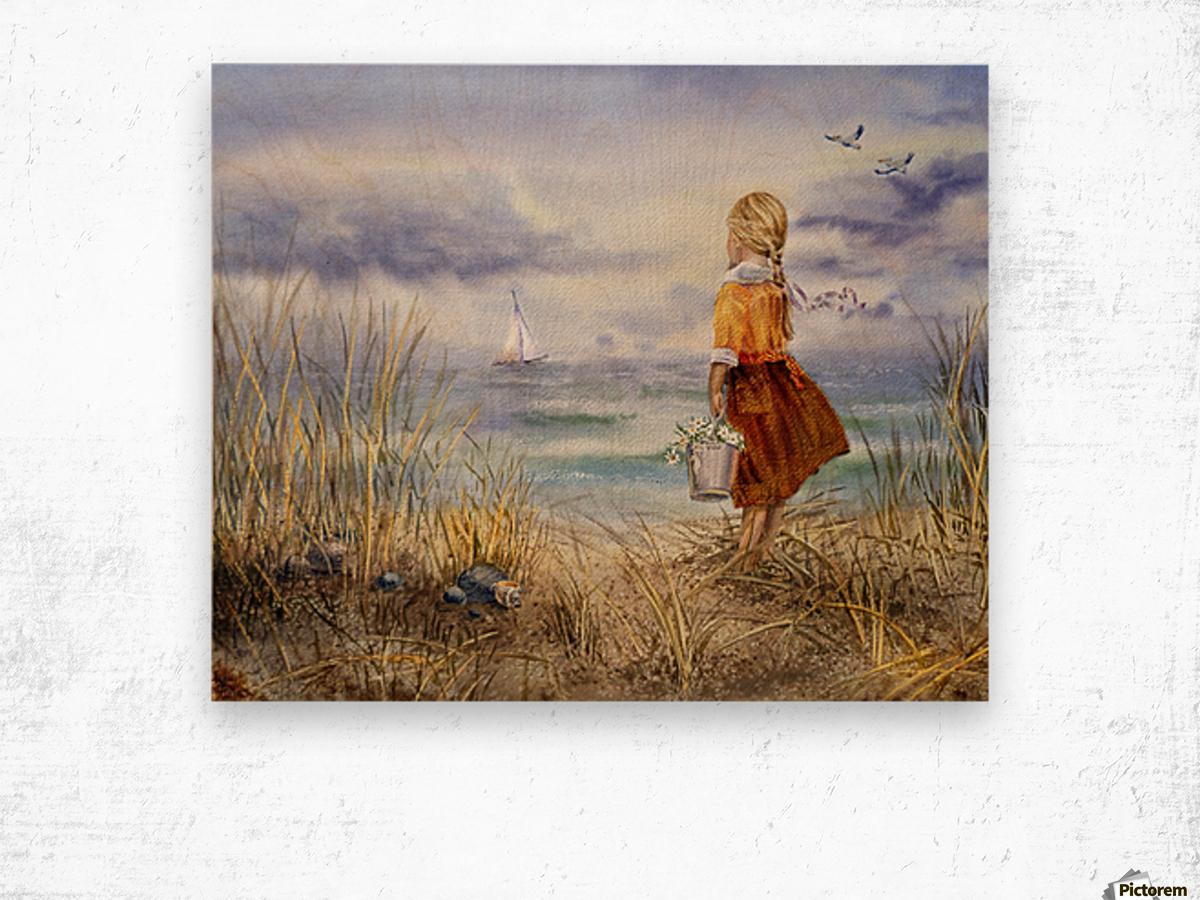 Girl And The Ocean Wood print