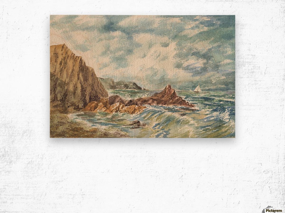 Vintage Storm At Rocky Shore Wood print