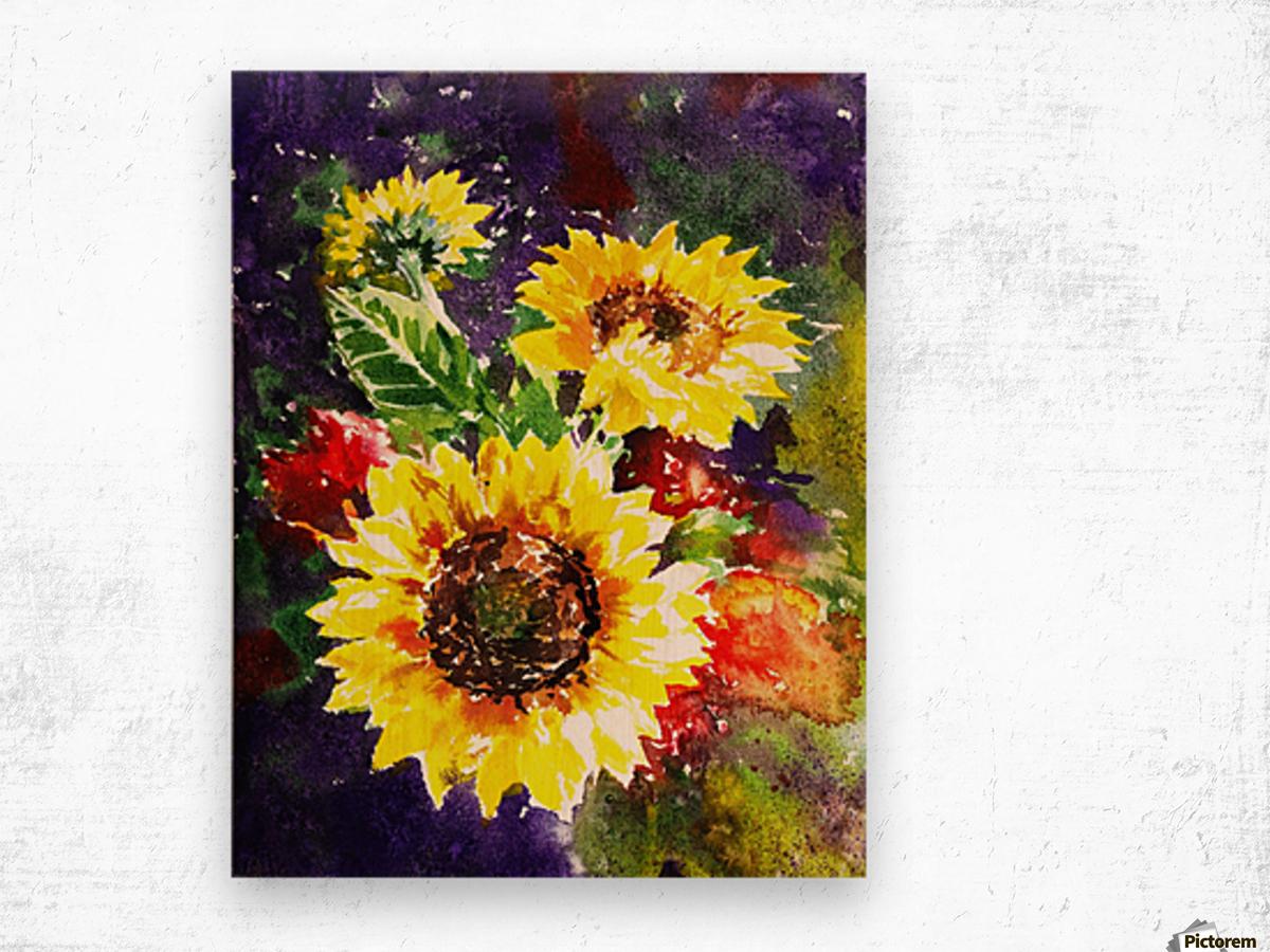 Impressionism And Sunflowers Wood print