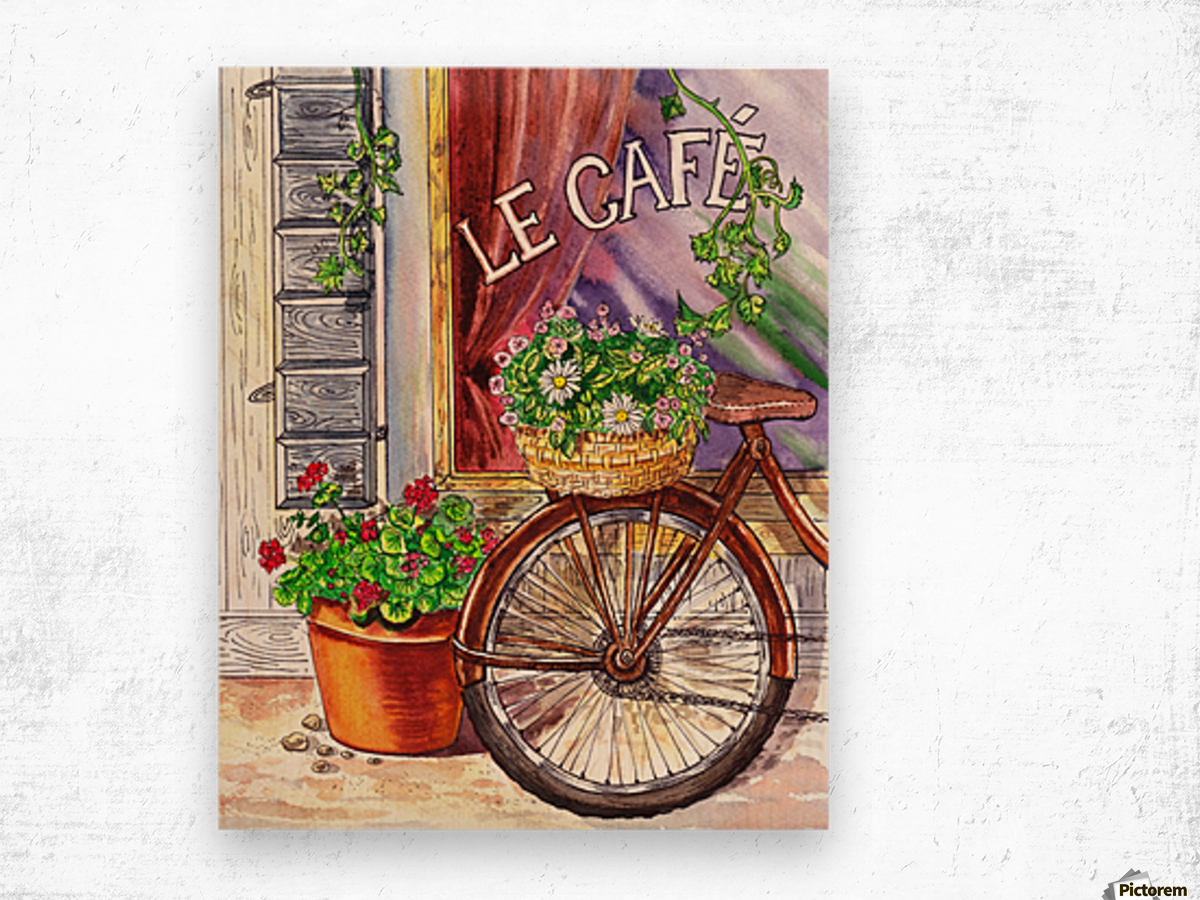 French Cafe And Bicycle With Basket Wood print