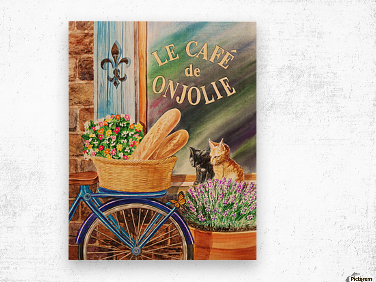 Bicycle With Basket At The Cafe Window Wood print