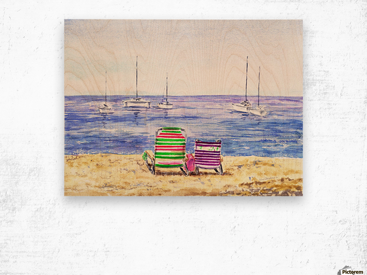 Two Chairs On The Beach Wood print