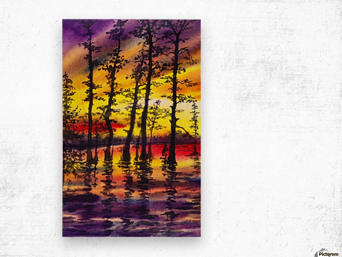 Bright Sunset Through The Trees Wood print