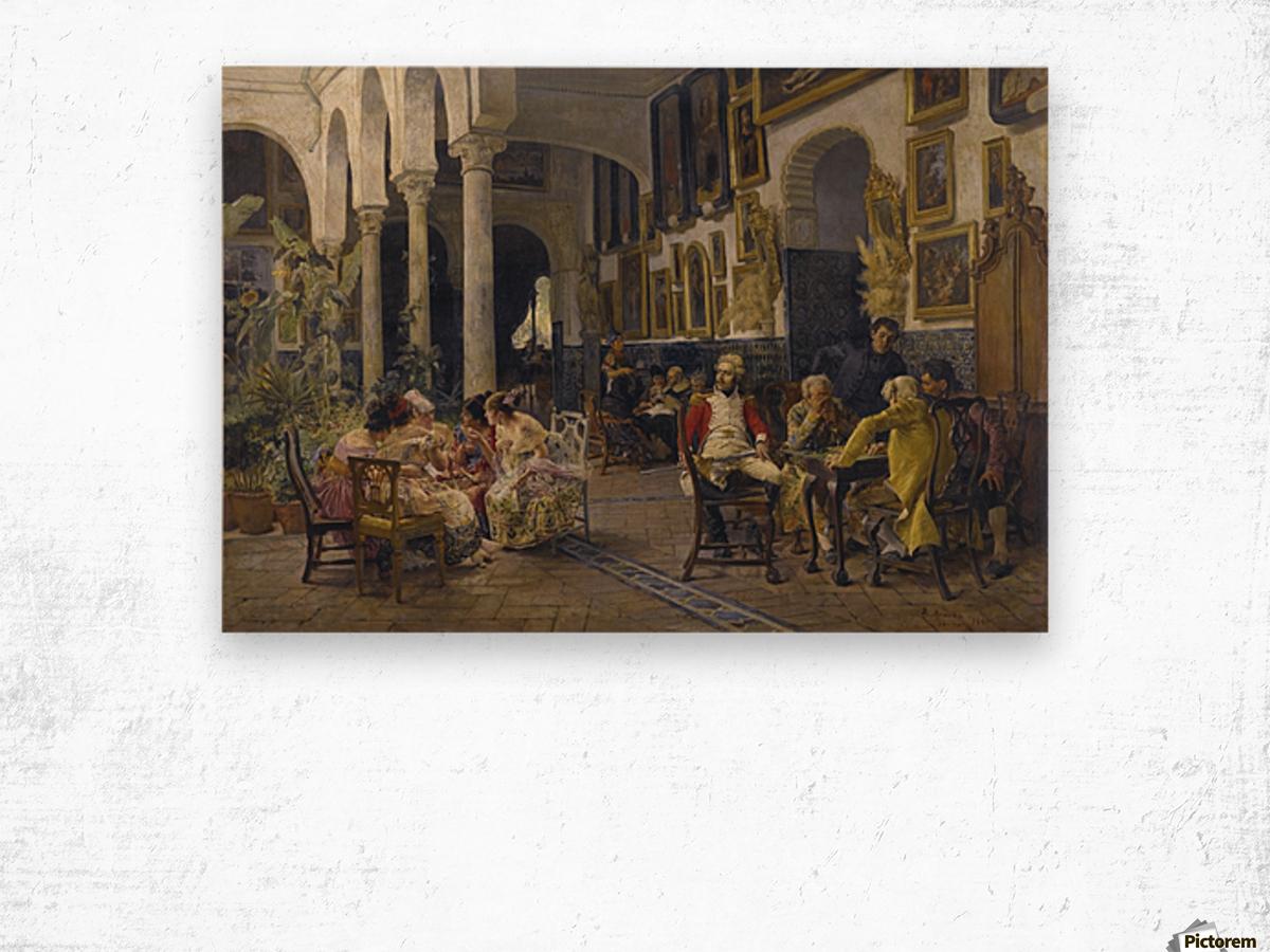 Conversation in a Sevillian courtyard Wood print