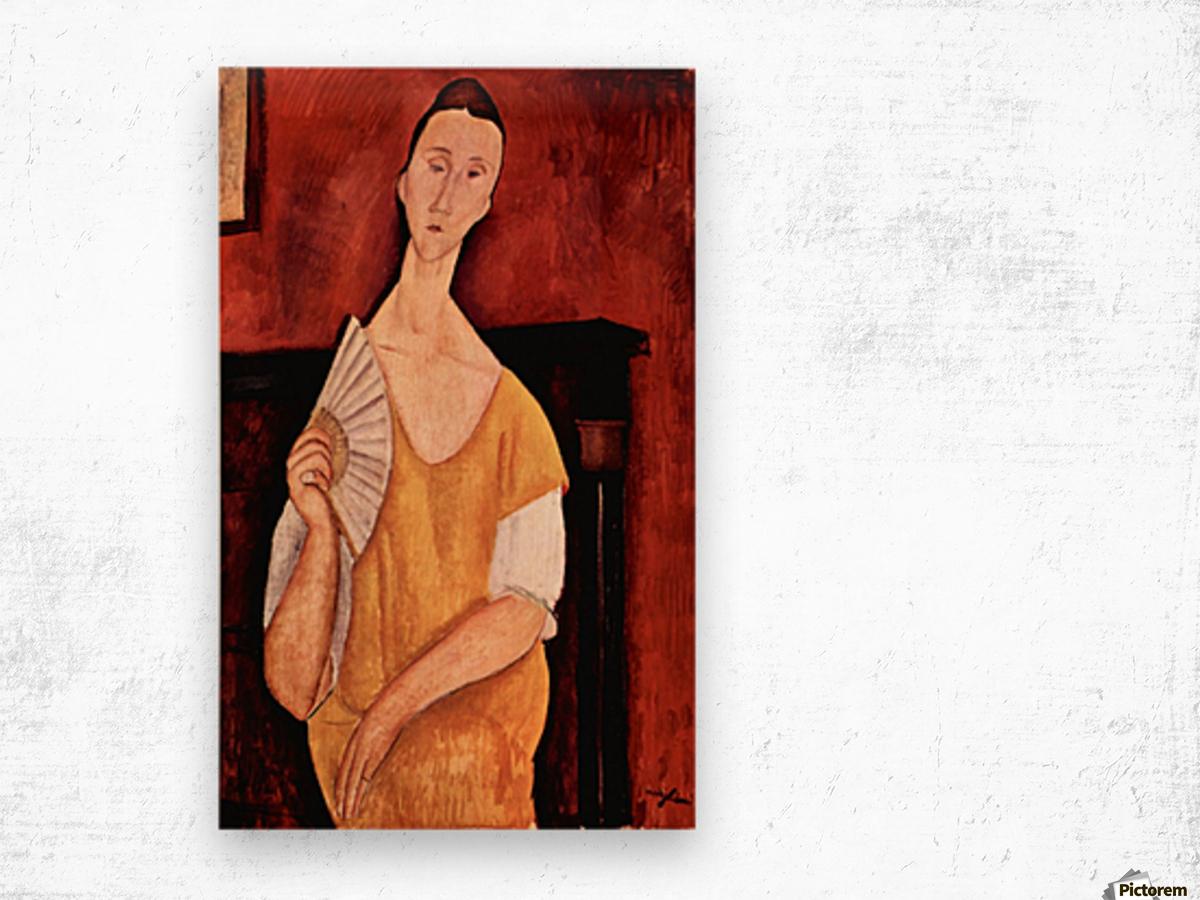 Modigliani - Portrait of Lunia Czechowska with fan Wood print
