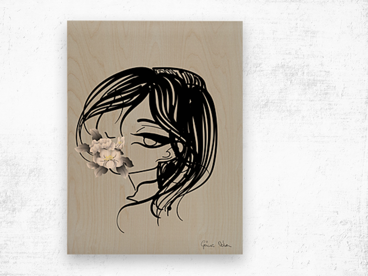 doodle with watercolor flower Wood print