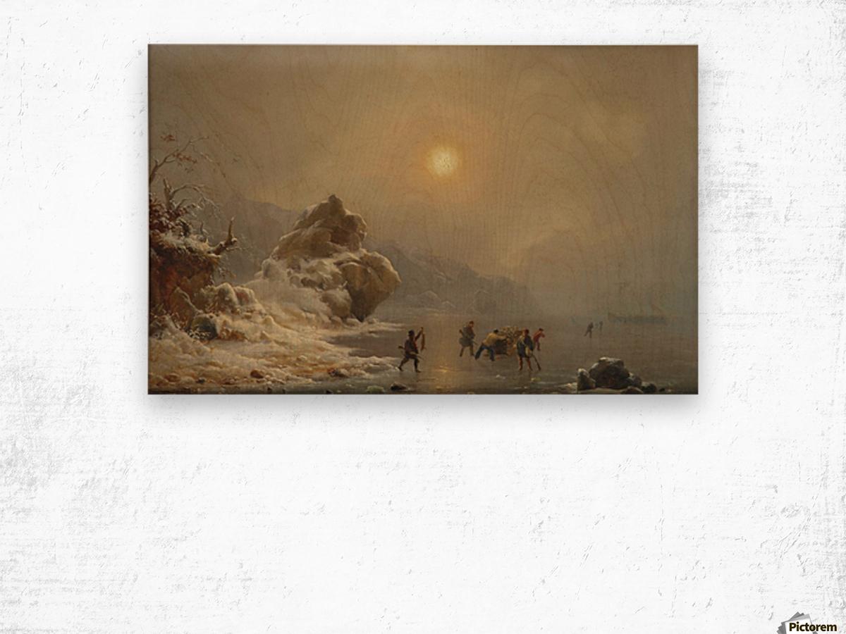 Eine Winterlandschaft mit Jagern auf dem Eis Wood print
