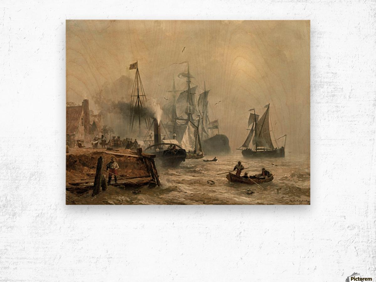Boats in fog Wood print