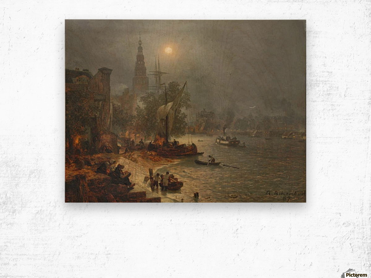 The harbor in the night Wood print