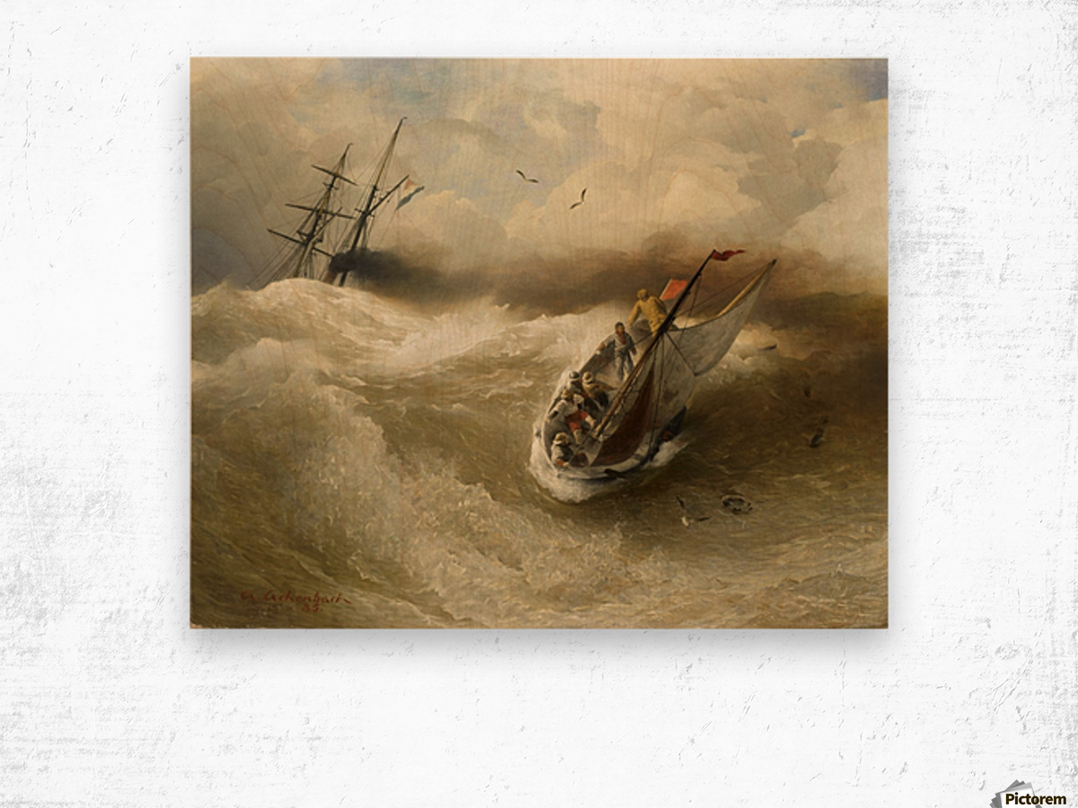 Boat in trouble Wood print