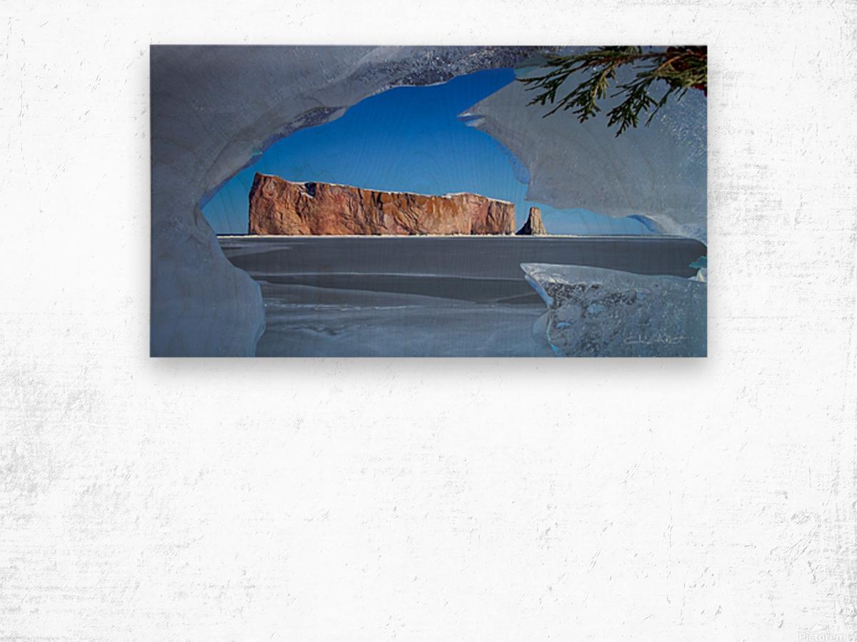 Rocher Perce sous glace Wood print