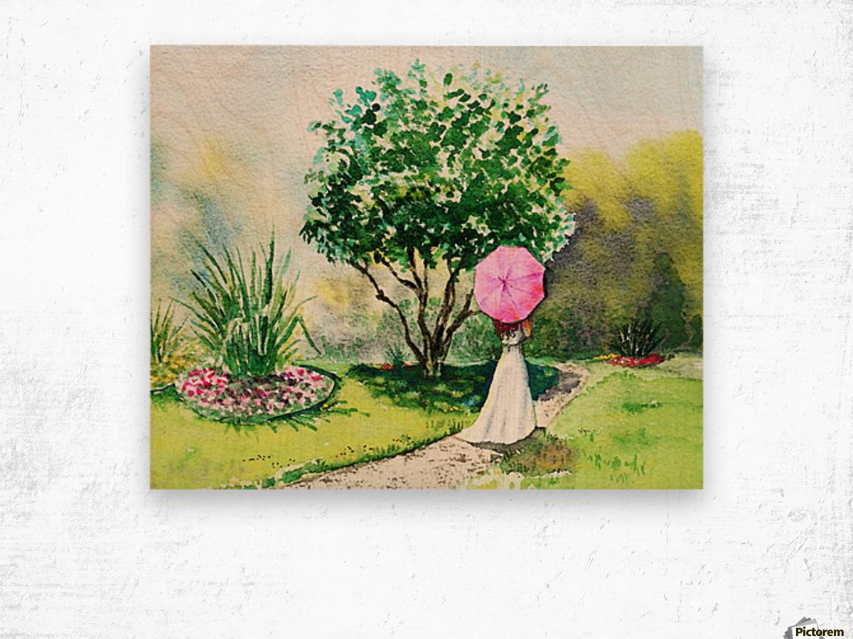 Girl With Pink Umbrella Wood print