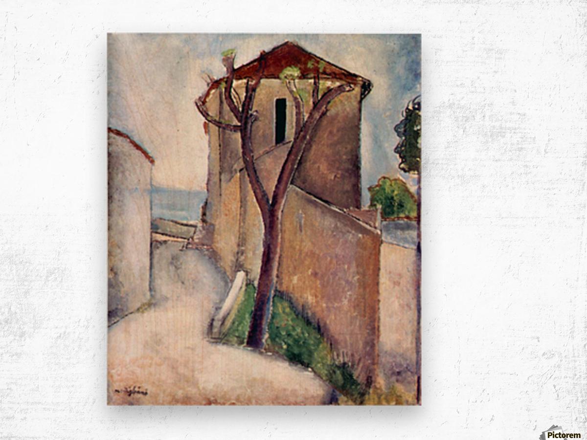 Modigliani - Tree and House Wood print