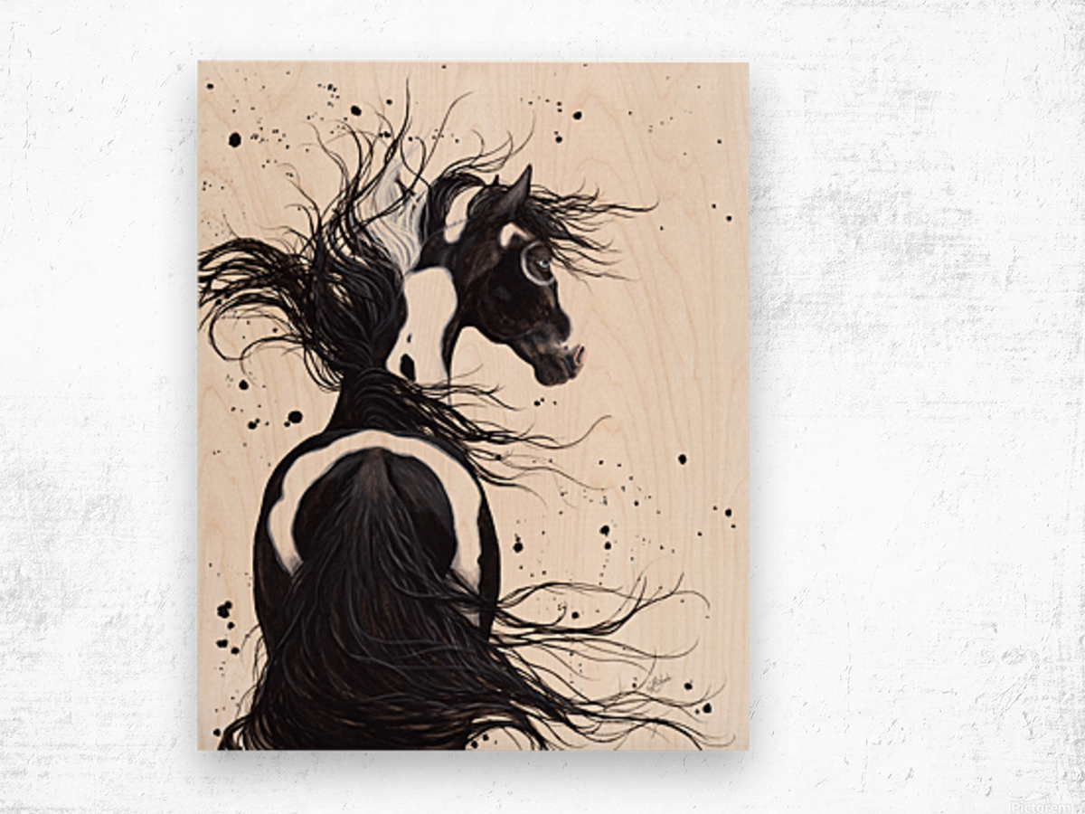 Black and White Pinto Horse Wood print