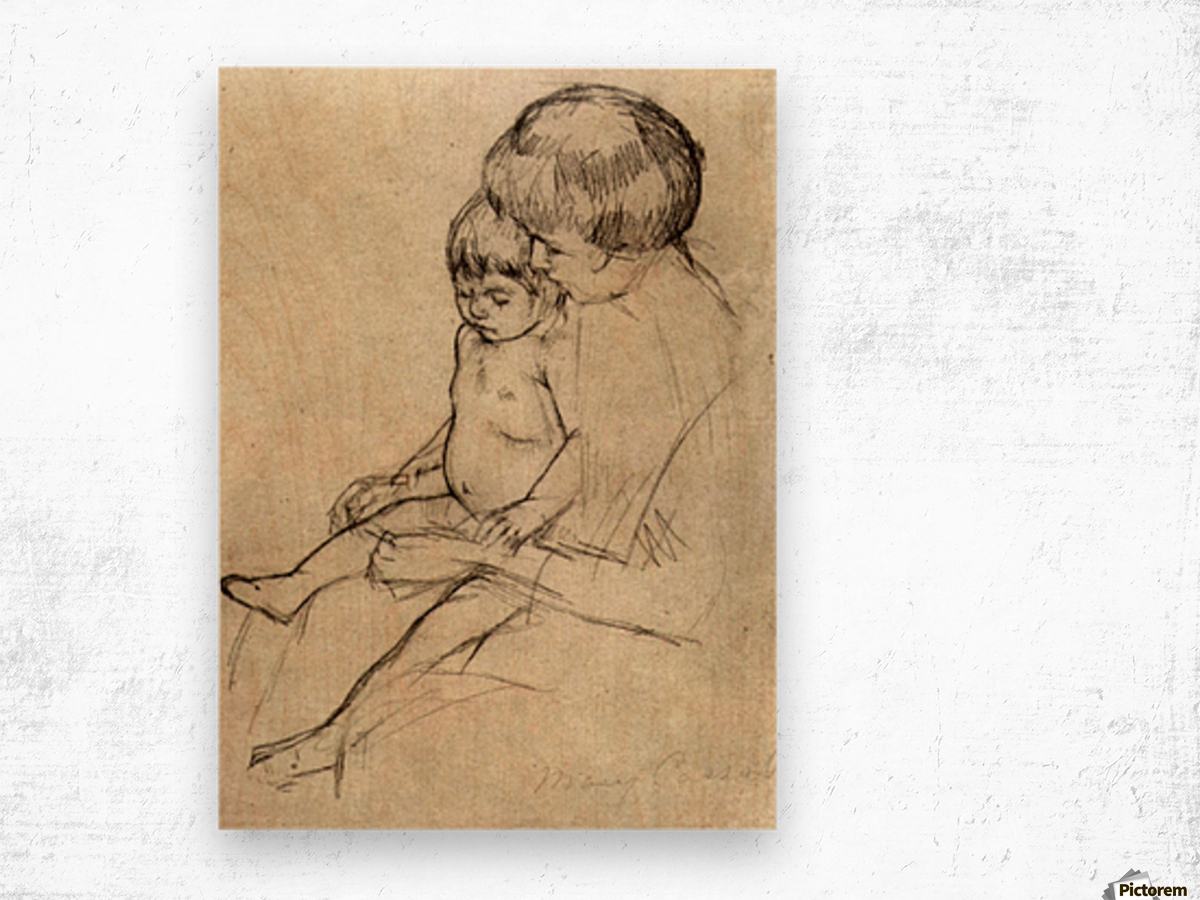 Mother and Child 2 by Cassatt Wood print