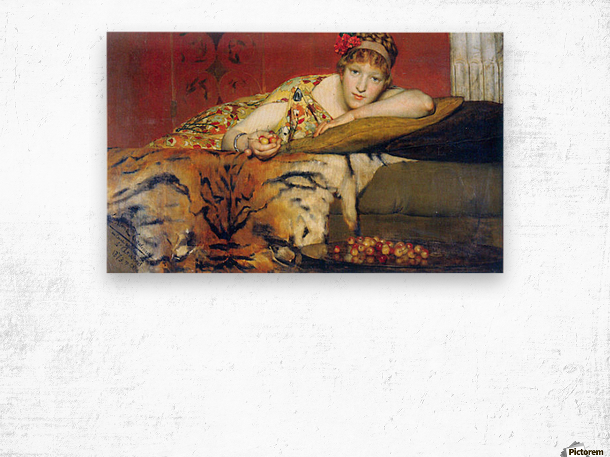 A craving for cherries by Alma-Tadema Wood print