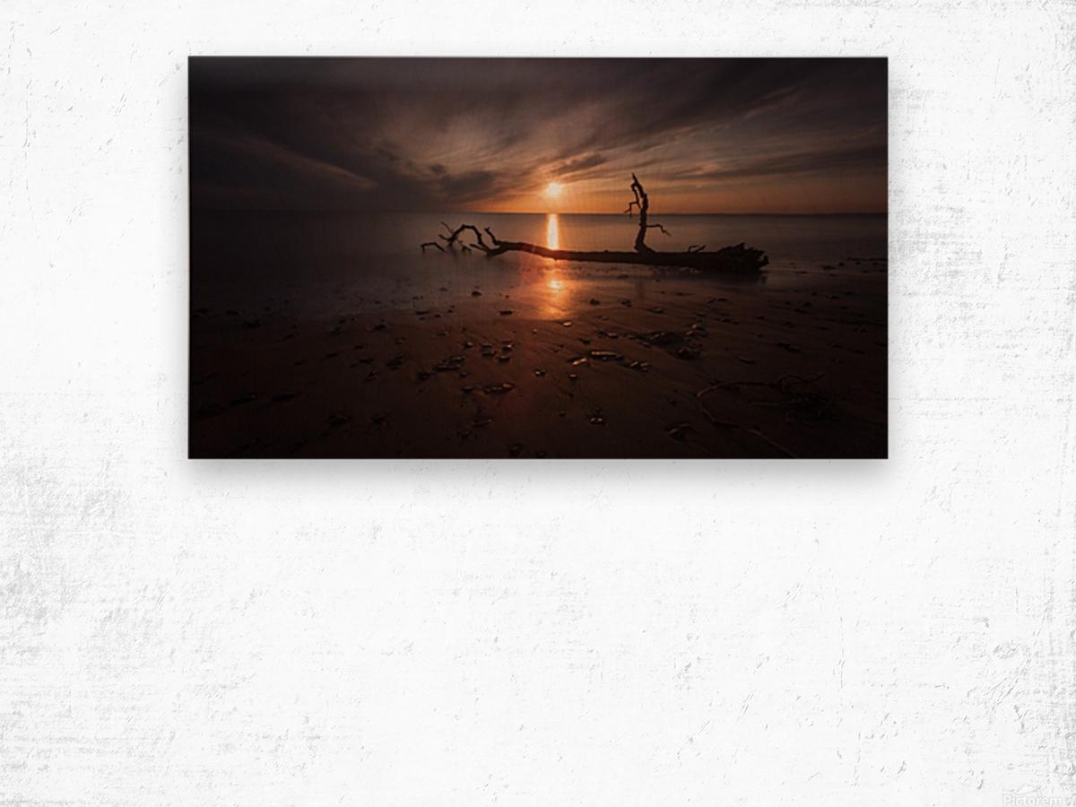 Sunset on Sker Beach Wood print