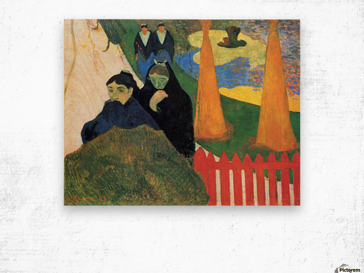 Old Maids in a Winter Garden - Arles by Gauguin Wood print