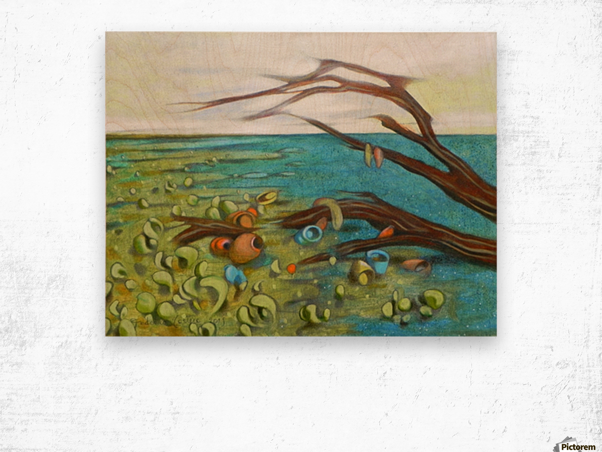 landscape with garbage Wood print