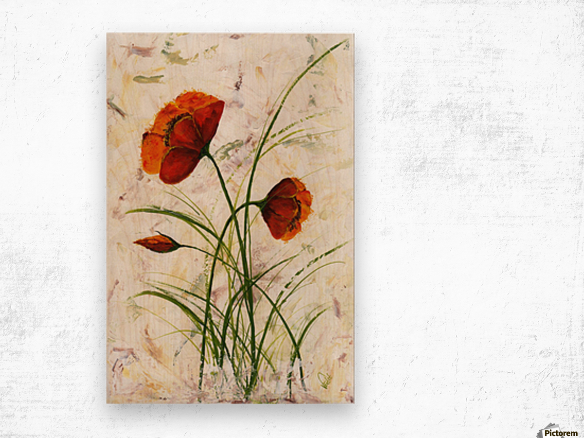 Red poppies 004 Edit Voros  Wood print