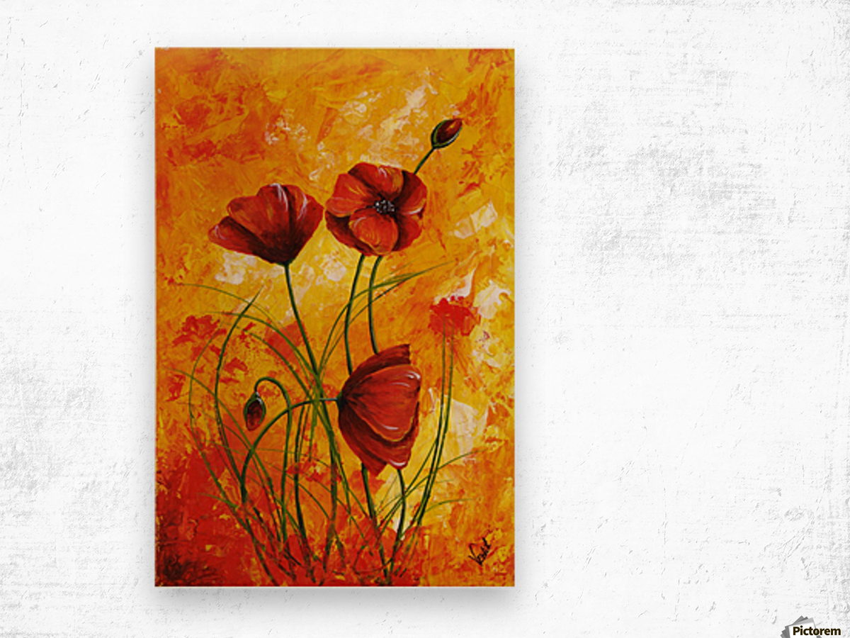 Red Poppies 006 Wood print