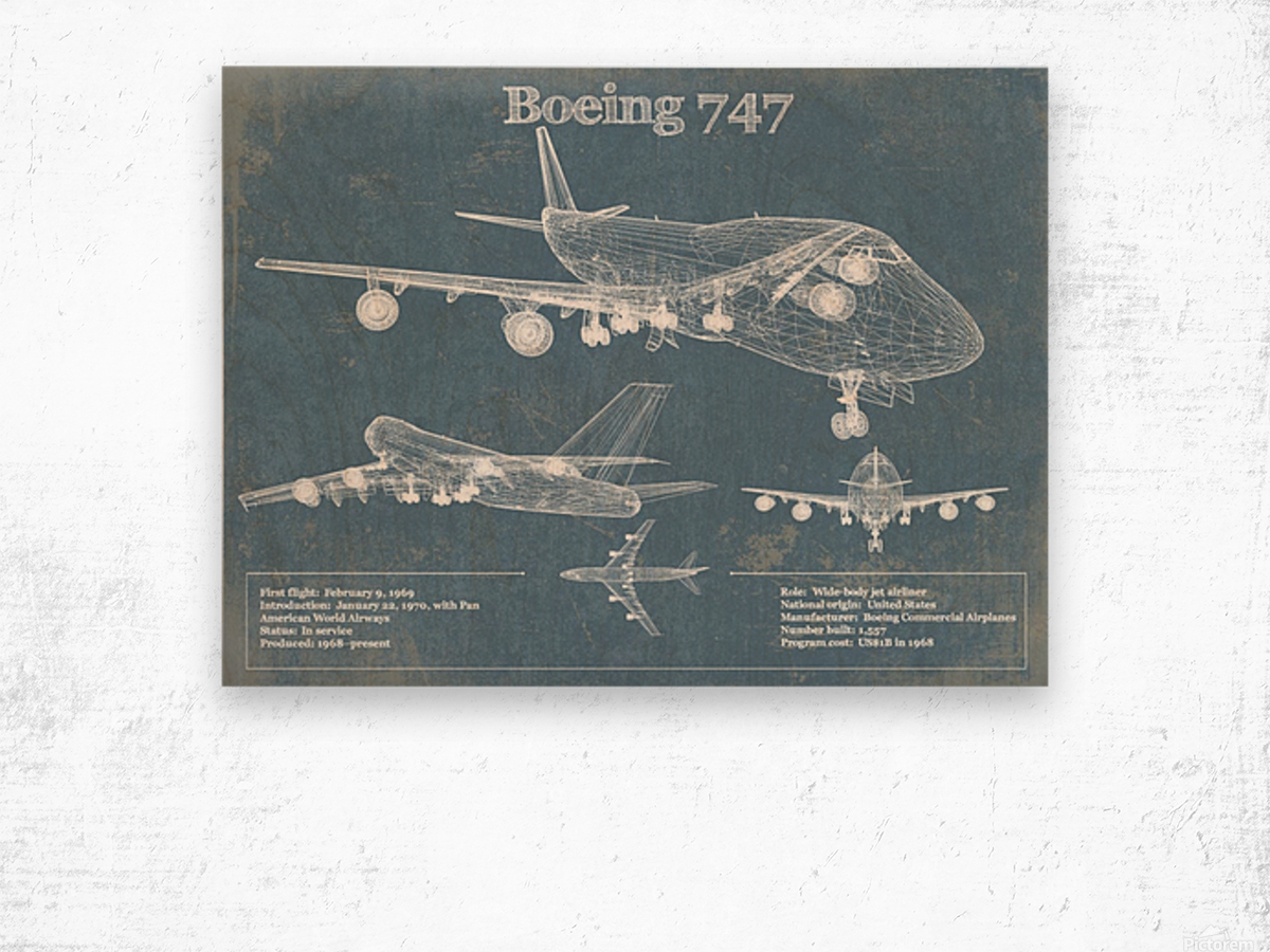 747 Wood print