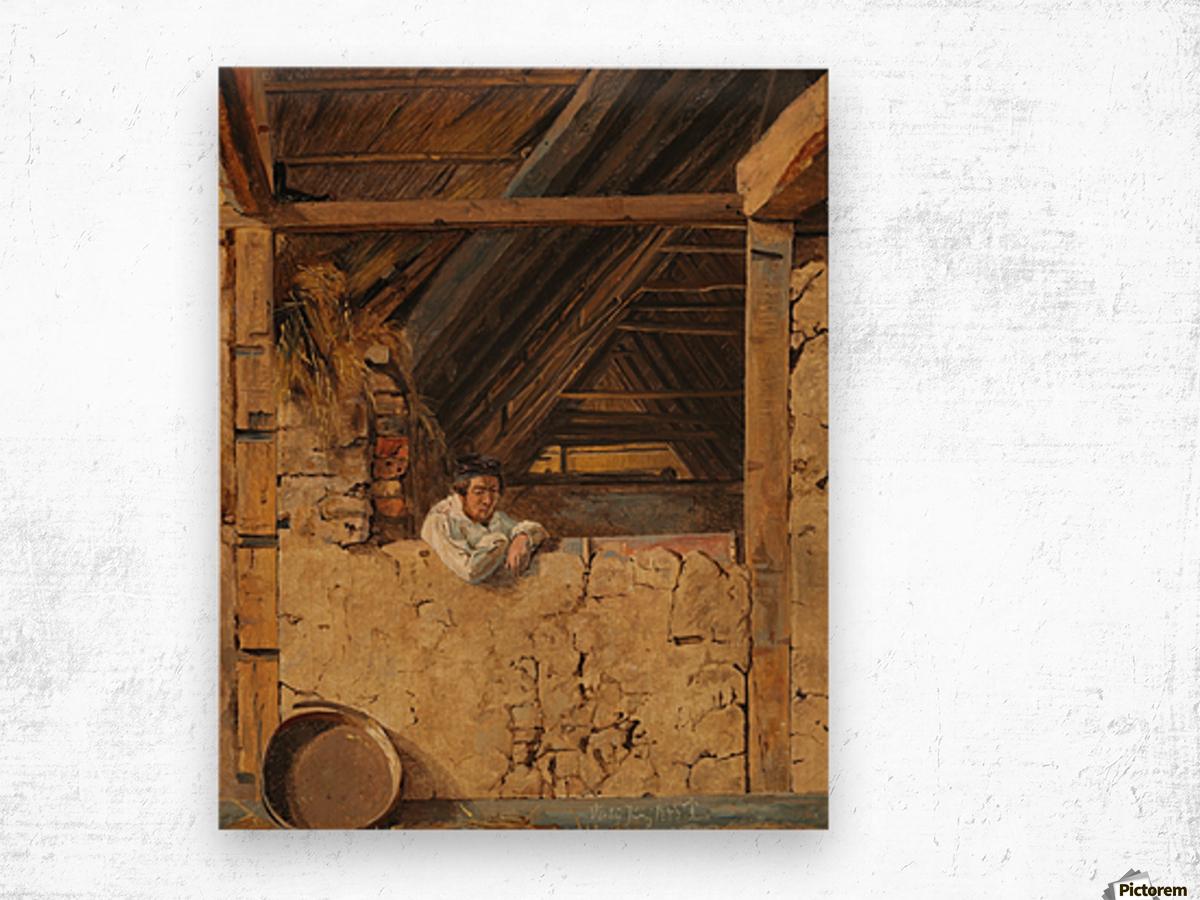 Peter Christian Skovgaard appuye contre un muret dans une etable, 1843 Wood print