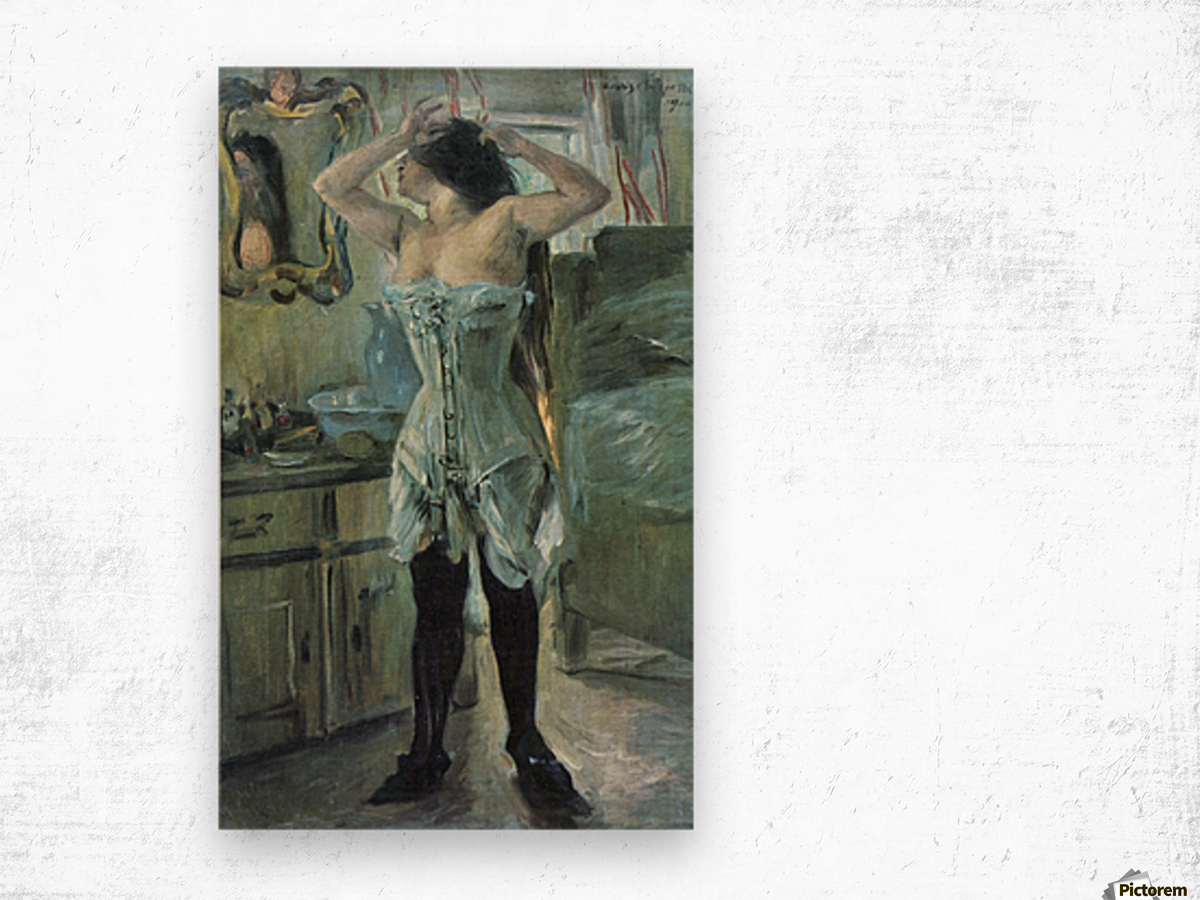 In a corset by Lovis Corinth Wood print