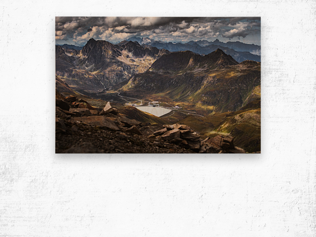 Surrounded by mountains Wood print
