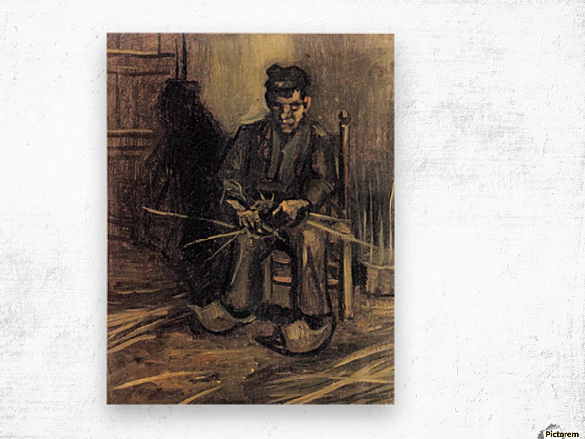 Peasant Making a Basket by Van Gogh Wood print