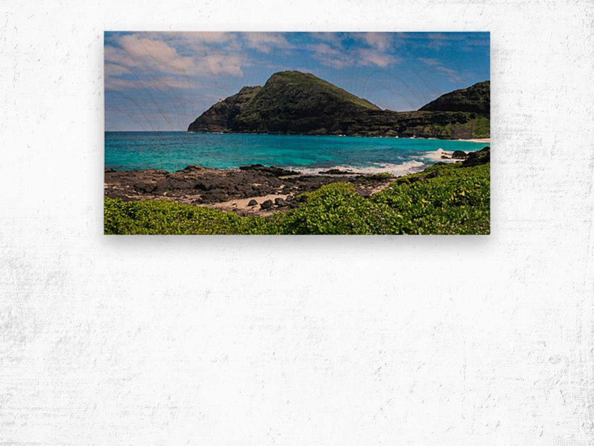 Hawaii Mountain Cliff on Coast Wood print