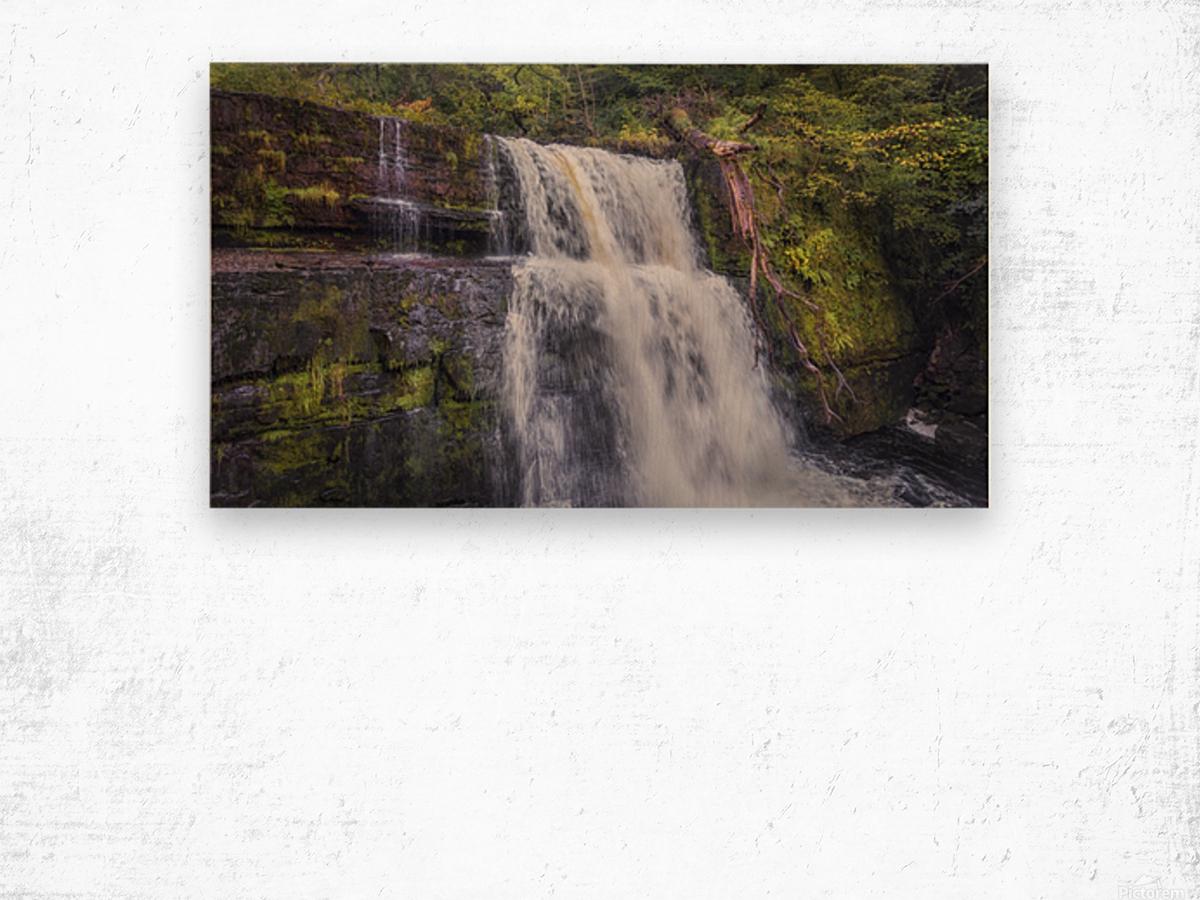 The waterfall Sgwd Clun Gwyn  Wood print